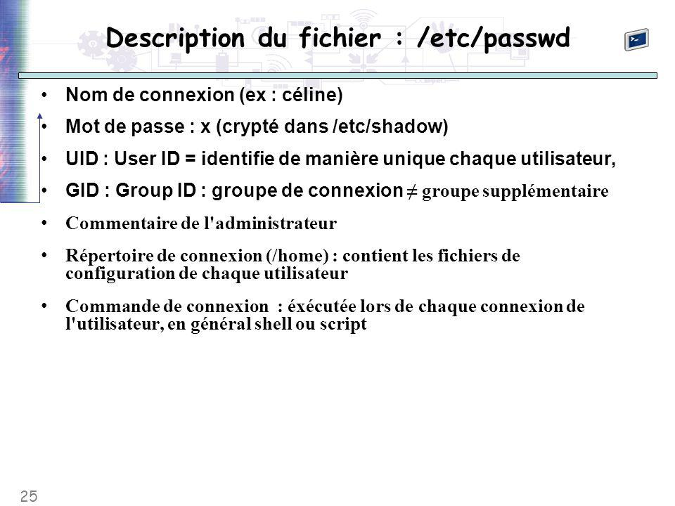 25 Description du fichier : /etc/passwd Nom de connexion (ex : céline) Mot de passe : x (crypté dans /etc/shadow) UID : User ID = identifie de manière unique chaque utilisateur, GID : Group ID : groupe de connexion ≠ groupe supplémentaire Commentaire de l administrateur Répertoire de connexion (/home) : contient les fichiers de configuration de chaque utilisateur Commande de connexion : éxécutée lors de chaque connexion de l utilisateur, en général shell ou script