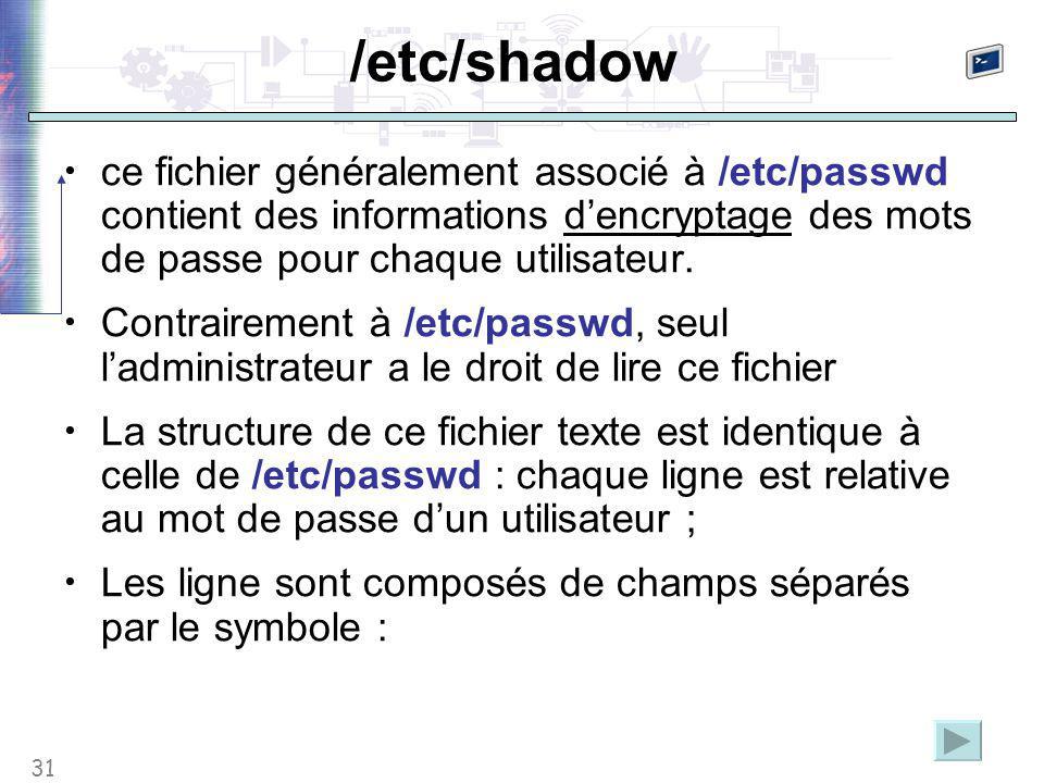31 /etc/shadow ce fichier généralement associé à /etc/passwd contient des informations d'encryptage des mots de passe pour chaque utilisateur.