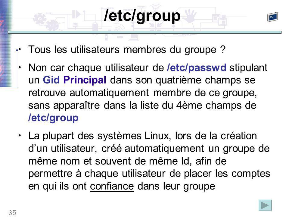 35 /etc/group Tous les utilisateurs membres du groupe ? Non car chaque utilisateur de /etc/passwd stipulant un Gid Principal dans son quatrième champs