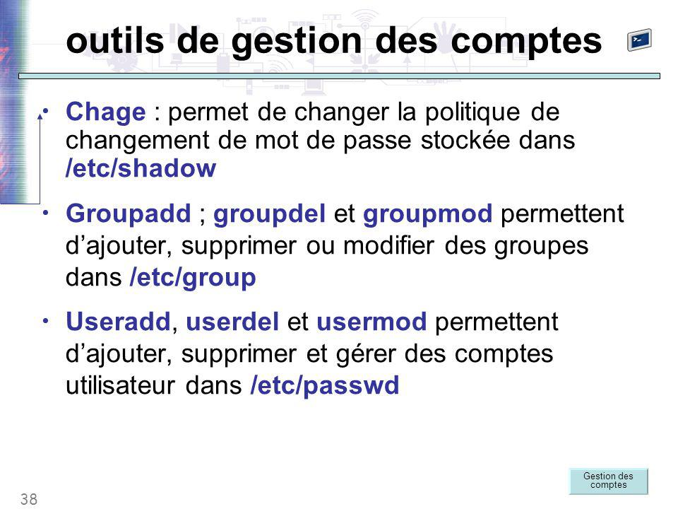 38 outils de gestion des comptes Chage : permet de changer la politique de changement de mot de passe stockée dans /etc/shadow Groupadd ; groupdel et groupmod permettent d'ajouter, supprimer ou modifier des groupes dans /etc/group Useradd, userdel et usermod permettent d'ajouter, supprimer et gérer des comptes utilisateur dans /etc/passwd Gestion des comptes