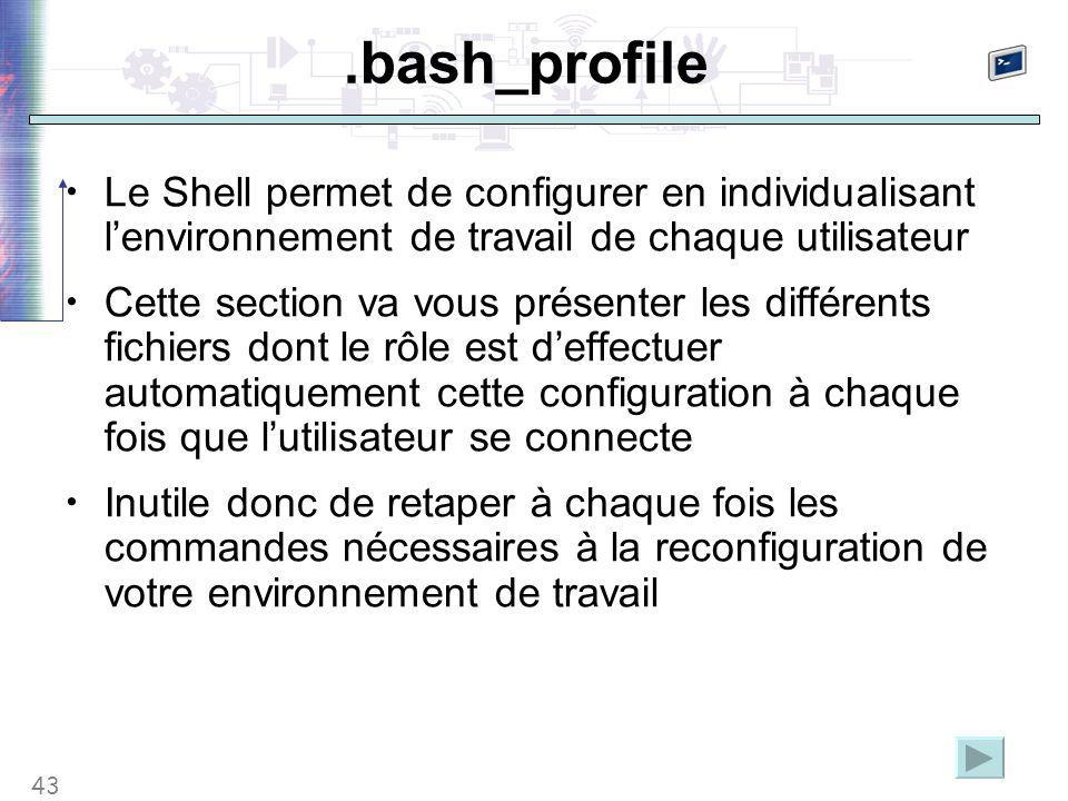43.bash_profile Le Shell permet de configurer en individualisant l'environnement de travail de chaque utilisateur Cette section va vous présenter les différents fichiers dont le rôle est d'effectuer automatiquement cette configuration à chaque fois que l'utilisateur se connecte Inutile donc de retaper à chaque fois les commandes nécessaires à la reconfiguration de votre environnement de travail
