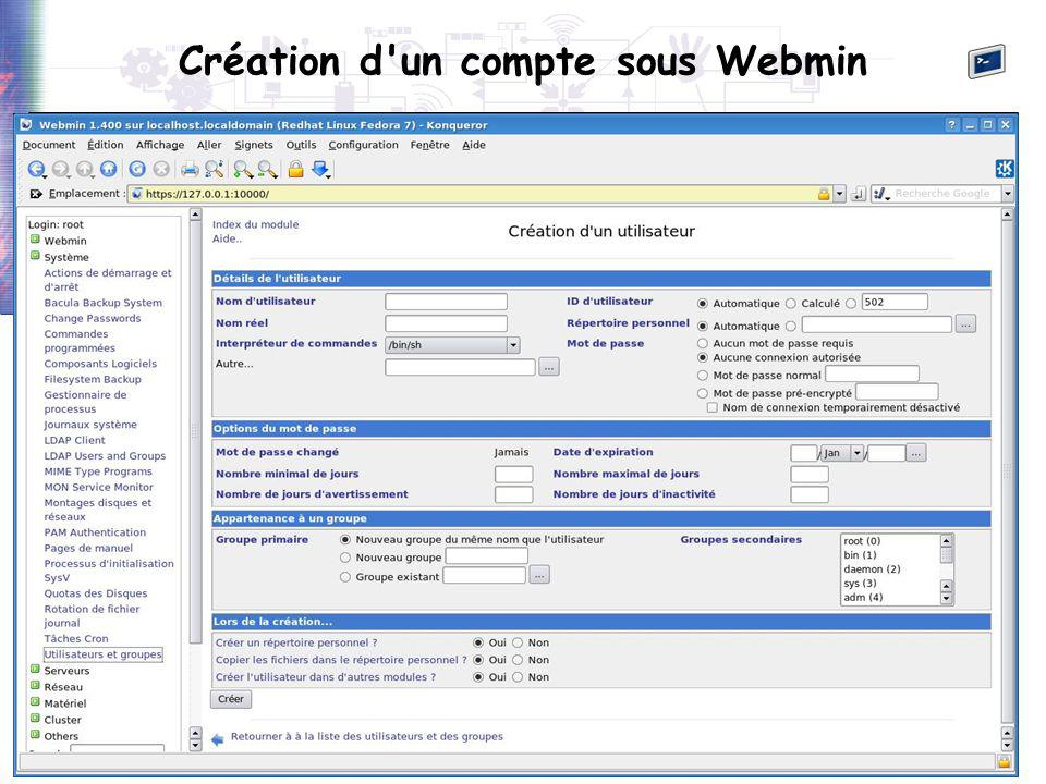 56 Création d'un compte sous Webmin