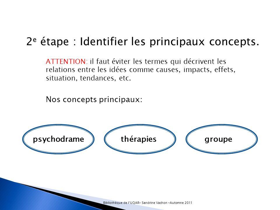 2 e étape : Identifier les principaux concepts.
