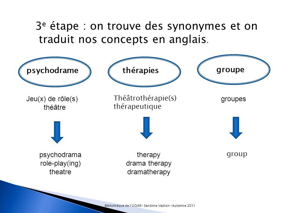 3 e étape : on trouve des synonymes et on traduit nos concepts en anglais.