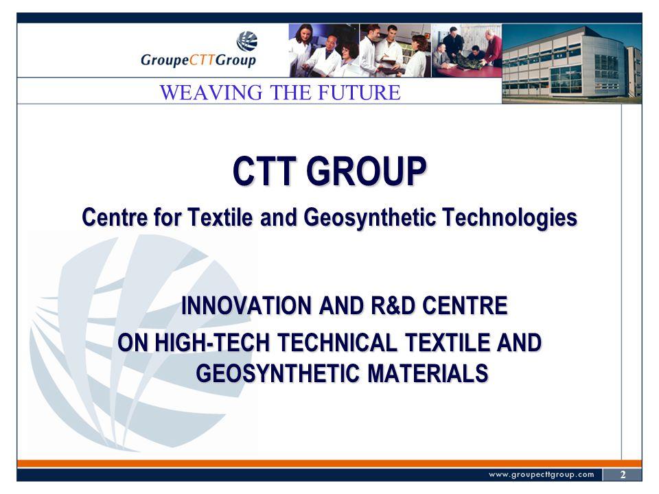 13 WEAVING THE FUTURE  2002: Revue textile (CTJ) et bulletin INFOGEOS sur INTERNET : webCTJ.com et infogeos.com  2003 (?) : Regroupement Intellitex Inc.