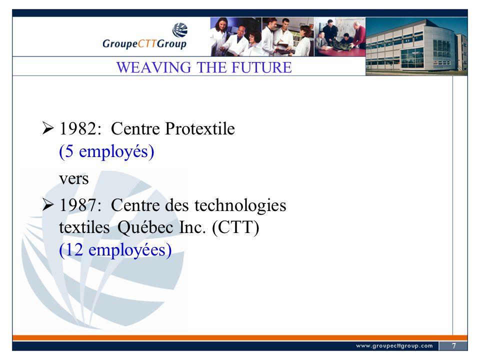 7  1982: Centre Protextile (5 employés) vers  1987: Centre des technologies textiles Québec Inc. (CTT) (12 employées)