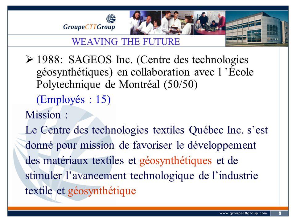 9 WEAVING THE FUTURE  1992: Développement de SAGEOS Inc.