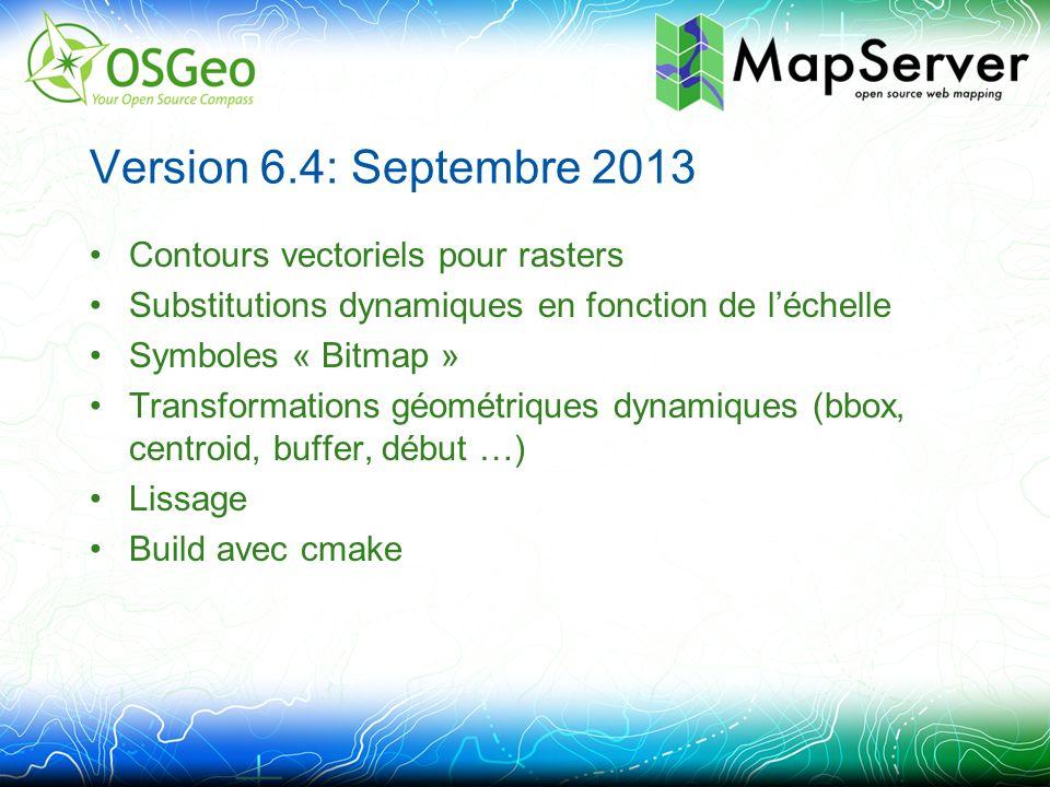 Version 6.4: Septembre 2013 Contours vectoriels pour rasters Substitutions dynamiques en fonction de l'échelle Symboles « Bitmap » Transformations géométriques dynamiques (bbox, centroid, buffer, début …) Lissage Build avec cmake