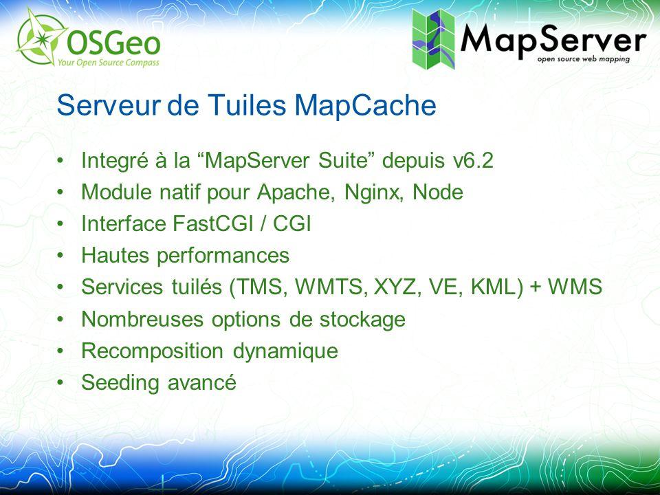 Serveur de Tuiles MapCache Integré à la MapServer Suite depuis v6.2 Module natif pour Apache, Nginx, Node Interface FastCGI / CGI Hautes performances Services tuilés (TMS, WMTS, XYZ, VE, KML) + WMS Nombreuses options de stockage Recomposition dynamique Seeding avancé