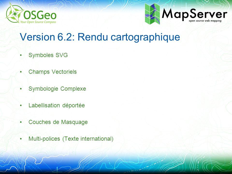 Symboles SVG Symbologie précédente parfois limitée SVG –Redimensionnable –Multicolore SYMBOL NAME svgsymbol TYPE SVG IMAGE /path/to/symbol.svg END STYLE SYMBOL svgsymbol SIZE 10 ANGLE 45 END
