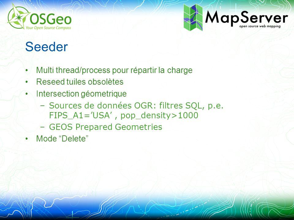 Seeder Multi thread/process pour répartir la charge Reseed tuiles obsolètes Intersection géometrique –Sources de données OGR: filtres SQL, p.e.