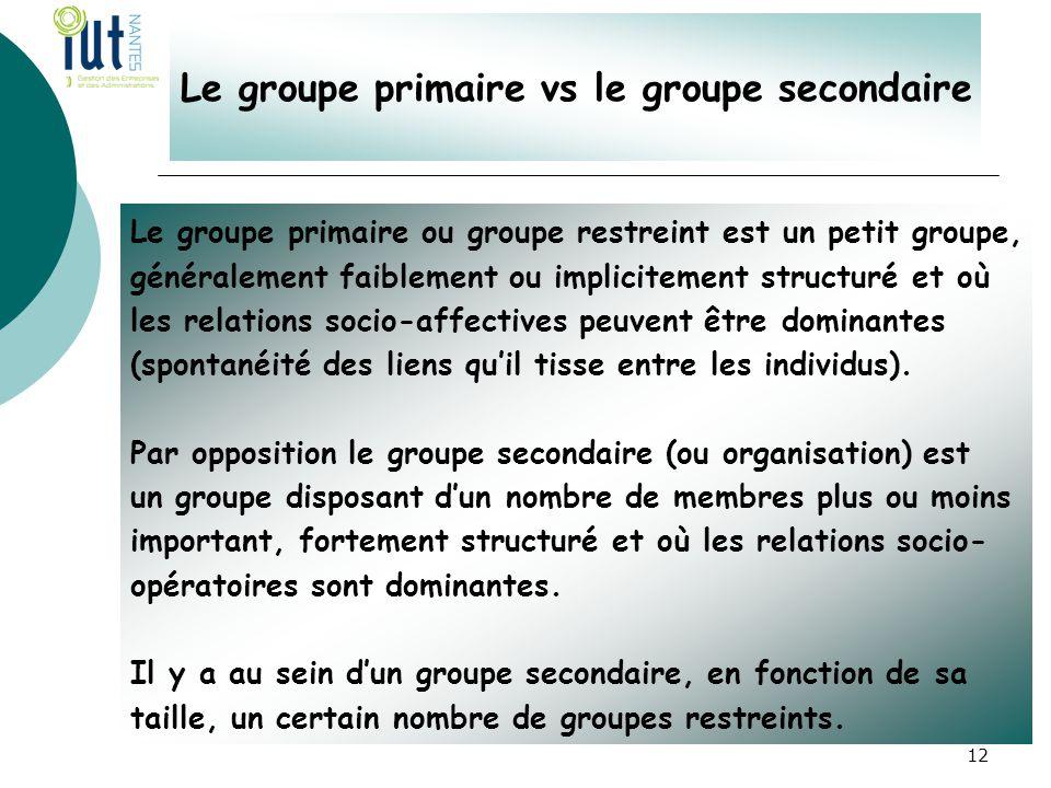 Le groupe primaire vs le groupe secondaire Le groupe primaire ou groupe restreint est un petit groupe, généralement faiblement ou implicitement struct