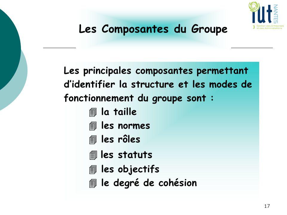 Les Composantes du Groupe Les principales composantes permettant d'identifier la structure et les modes de fonctionnement du groupe sont :  la taille