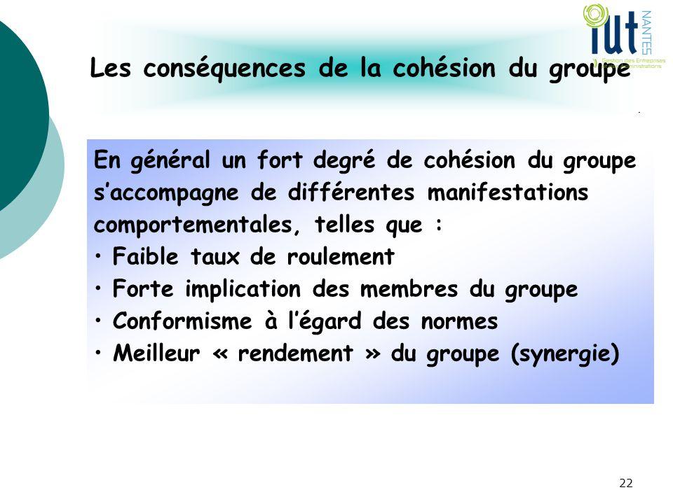 Les conséquences de la cohésion du groupe En général un fort degré de cohésion du groupe s'accompagne de différentes manifestations comportementales,