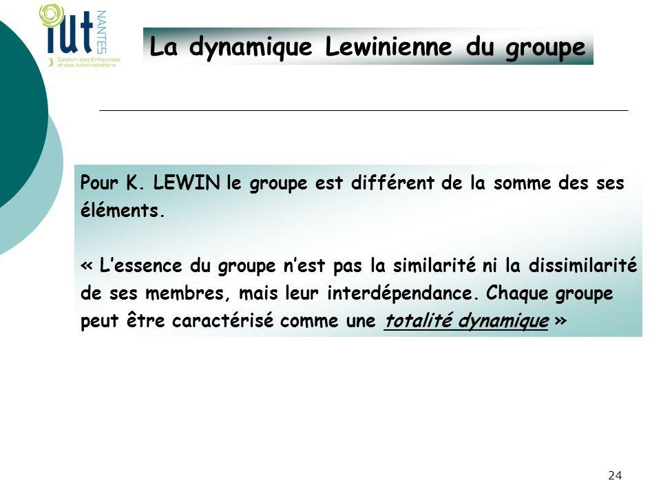 La dynamique Lewinienne du groupe Pour K. LEWIN le groupe est différent de la somme des ses éléments. « L'essence du groupe n'est pas la similarité ni