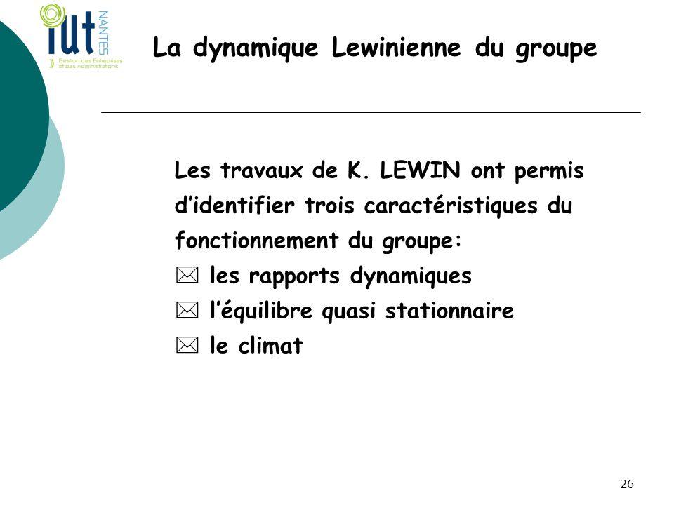 La dynamique Lewinienne du groupe Les travaux de K. LEWIN ont permis d'identifier trois caractéristiques du fonctionnement du groupe:  les rapports d