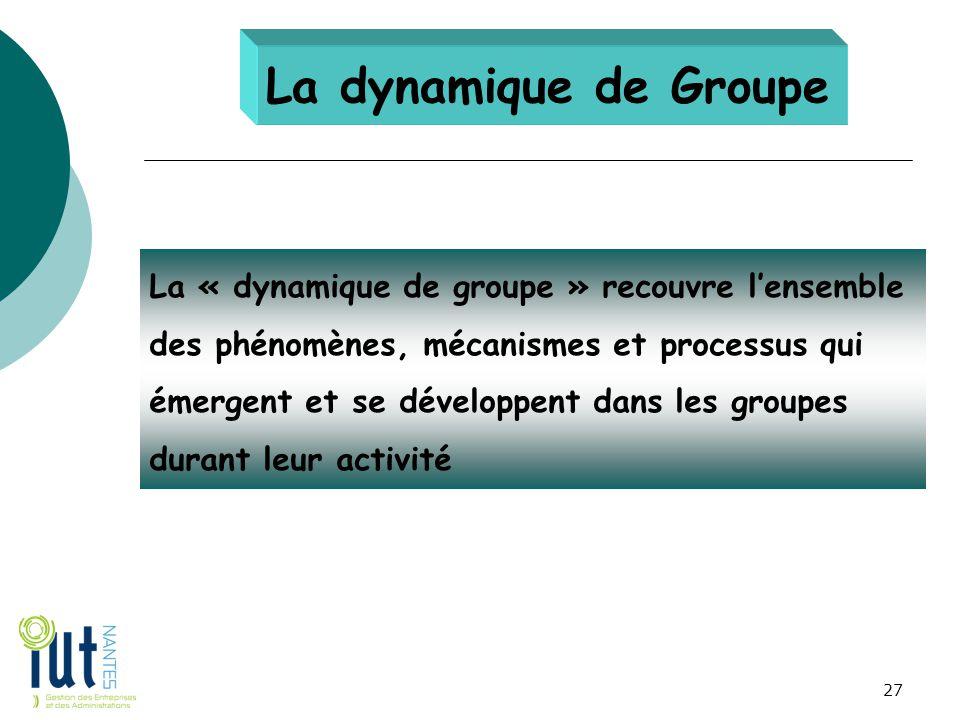 La dynamique de Groupe La « dynamique de groupe » recouvre l'ensemble des phénomènes, mécanismes et processus qui émergent et se développent dans les