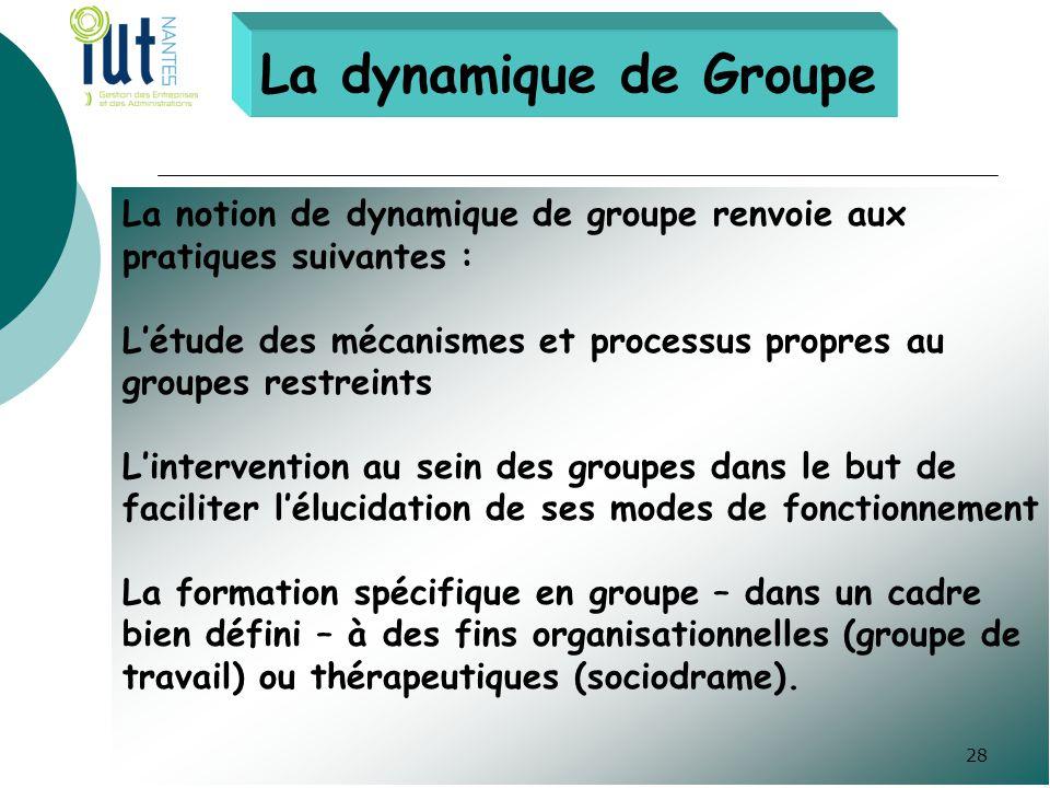 La dynamique de Groupe La notion de dynamique de groupe renvoie aux pratiques suivantes : L'étude des mécanismes et processus propres au groupes restr