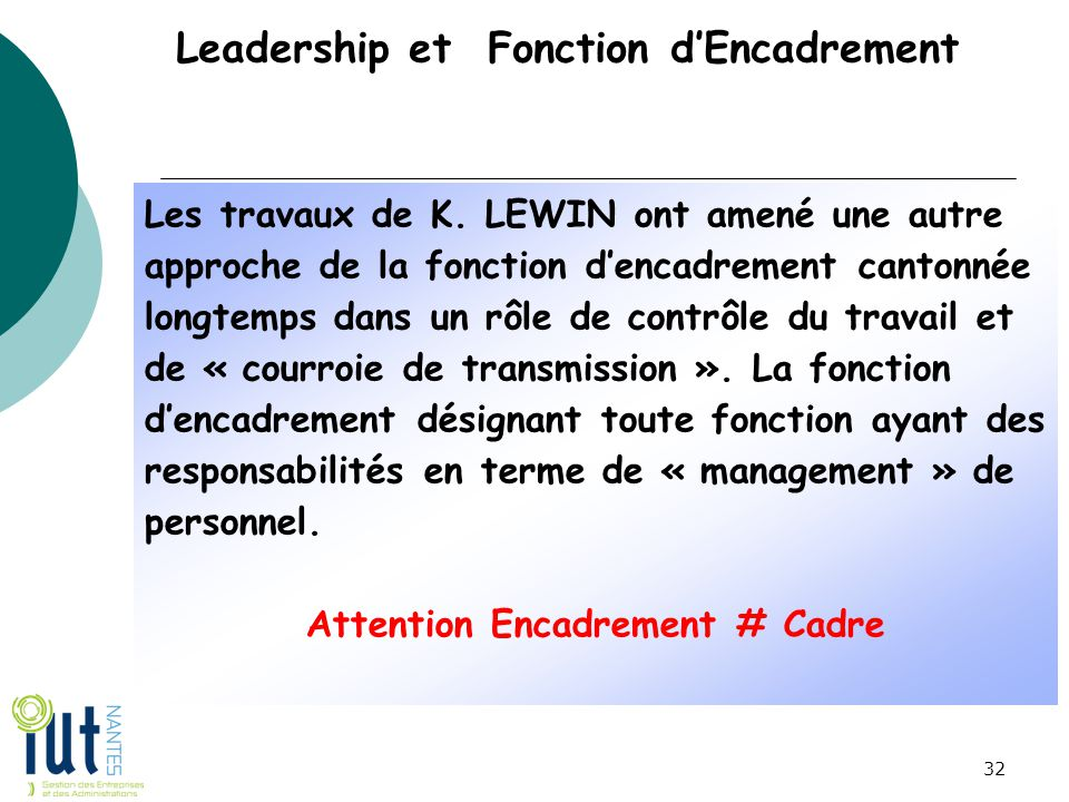 Leadership et Fonction d'Encadrement Les travaux de K. LEWIN ont amené une autre approche de la fonction d'encadrement cantonnée longtemps dans un rôl