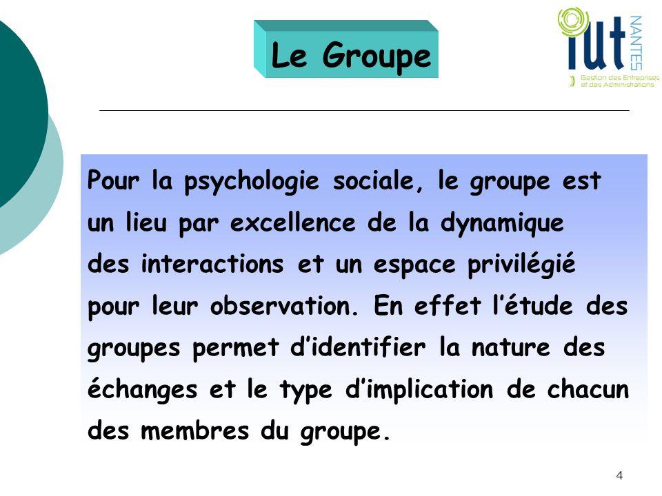 Le Groupe Pour la psychologie sociale, le groupe est un lieu par excellence de la dynamique des interactions et un espace privilégié pour leur observa