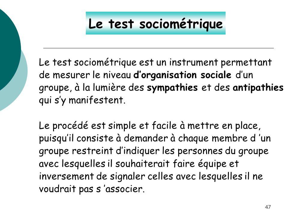 Le test sociométrique Le test sociométrique est un instrument permettant de mesurer le niveau d'organisation sociale d'un groupe, à la lumière des sym