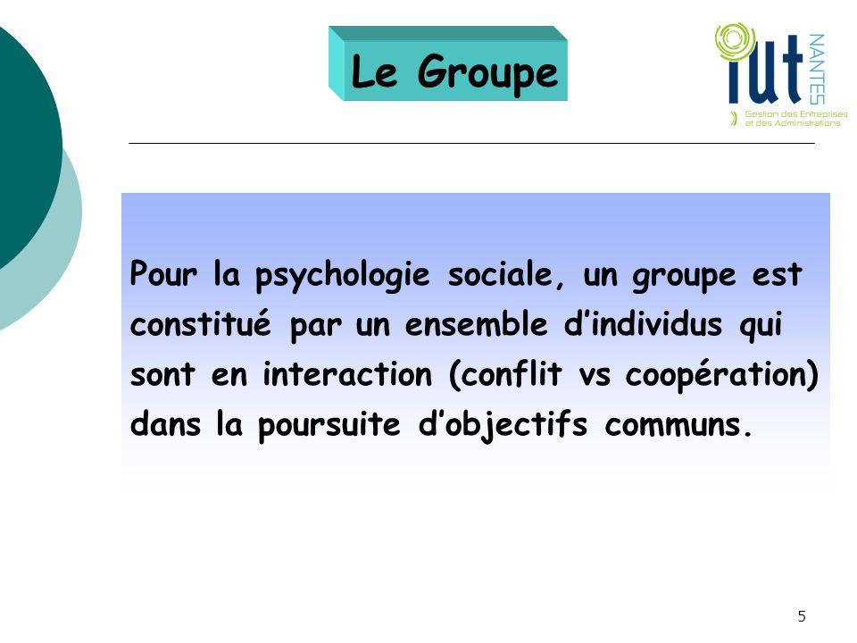 Le Groupe Pour la psychologie sociale, un groupe est constitué par un ensemble d'individus qui sont en interaction (conflit vs coopération) dans la po