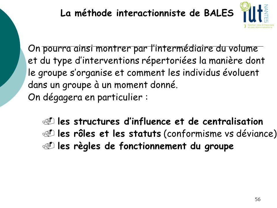 La méthode interactionniste de BALES On pourra ainsi montrer par l'intermédiaire du volume et du type d'interventions répertoriées la manière dont le