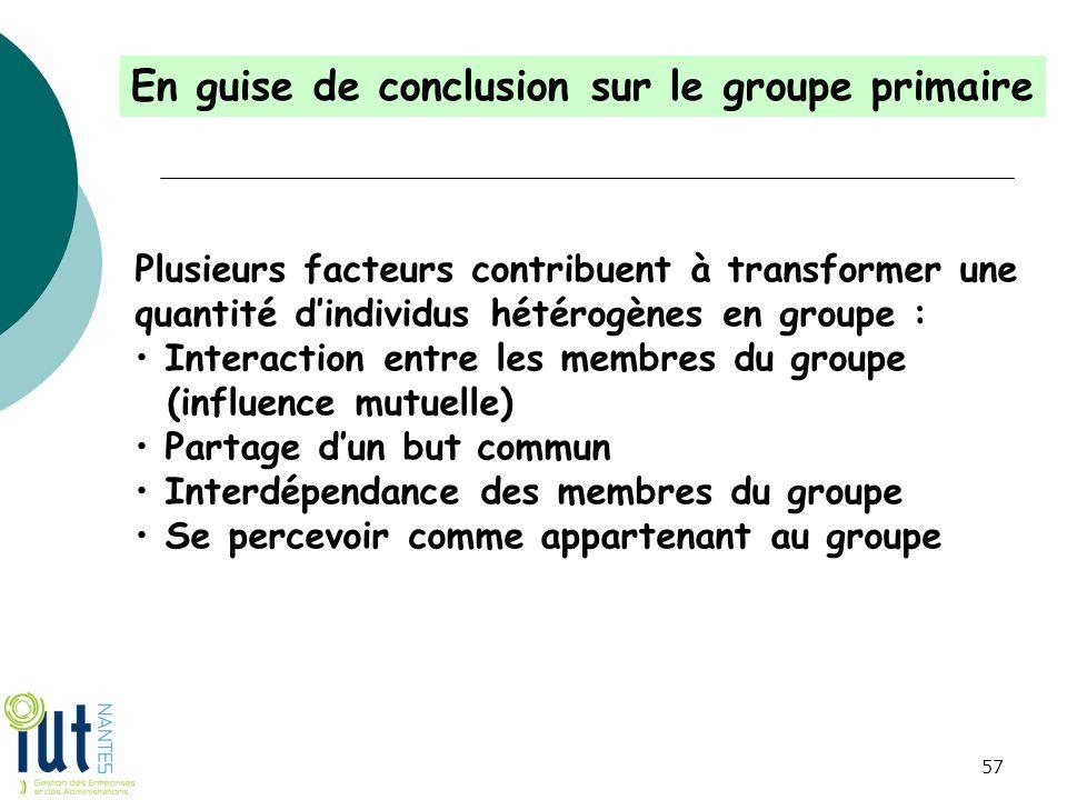 En guise de conclusion sur le groupe primaire Plusieurs facteurs contribuent à transformer une quantité d'individus hétérogènes en groupe : Interactio