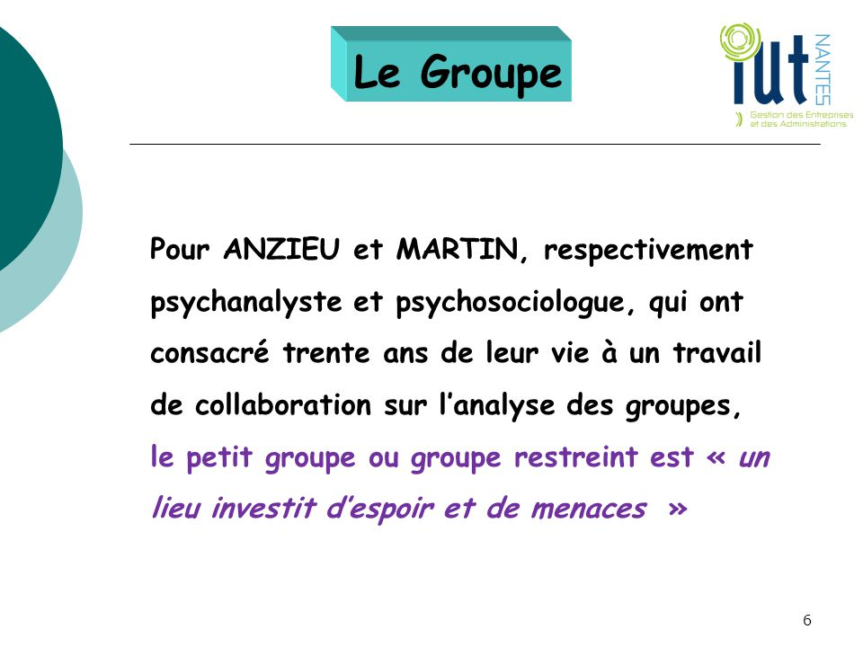 Pour ANZIEU et MARTIN, respectivement psychanalyste et psychosociologue, qui ont consacré trente ans de leur vie à un travail de collaboration sur l'a