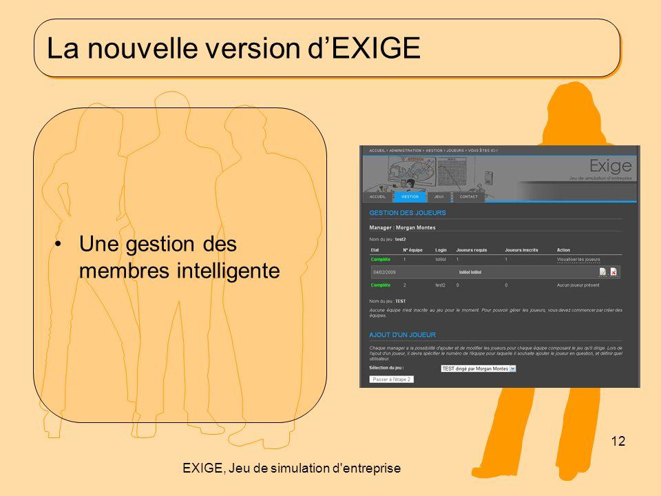 La nouvelle version d'EXIGE Une gestion des membres intelligente 12 EXIGE, Jeu de simulation d'entreprise