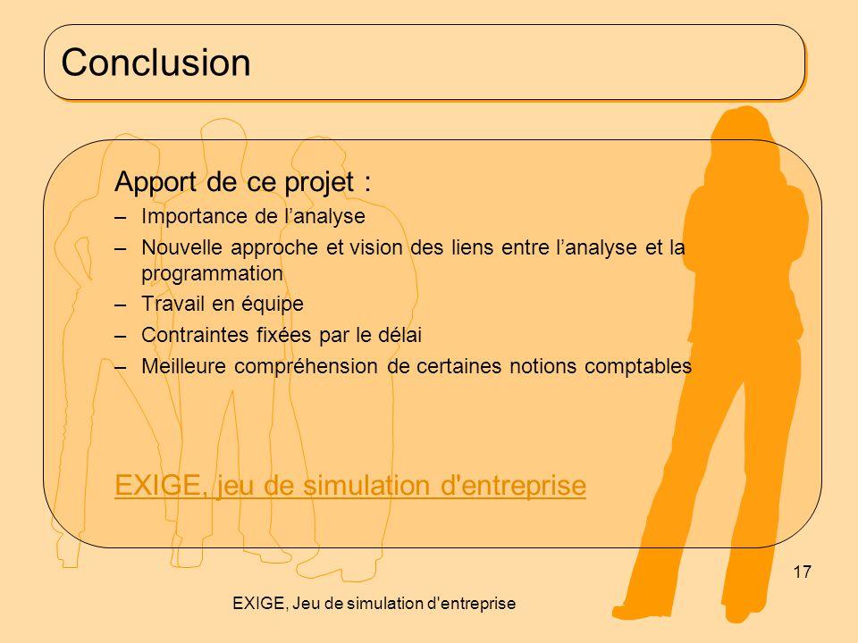 Conclusion Apport de ce projet : –Importance de l'analyse –Nouvelle approche et vision des liens entre l'analyse et la programmation –Travail en équip