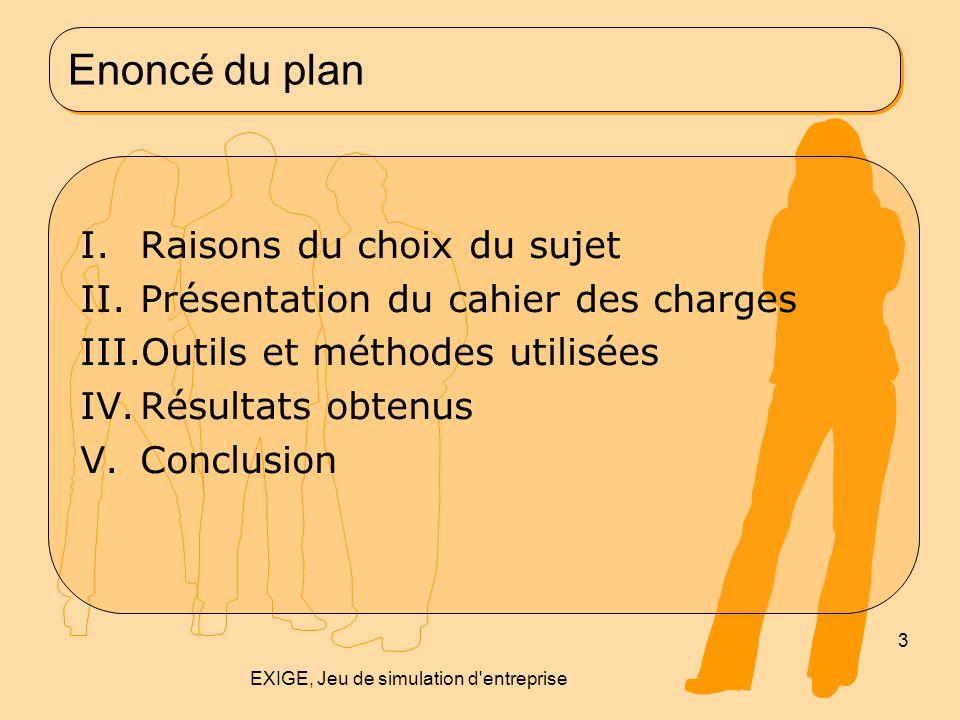 Enoncé du plan I.Raisons du choix du sujet II.Présentation du cahier des charges III.Outils et méthodes utilisées IV.Résultats obtenus V.Conclusion 3