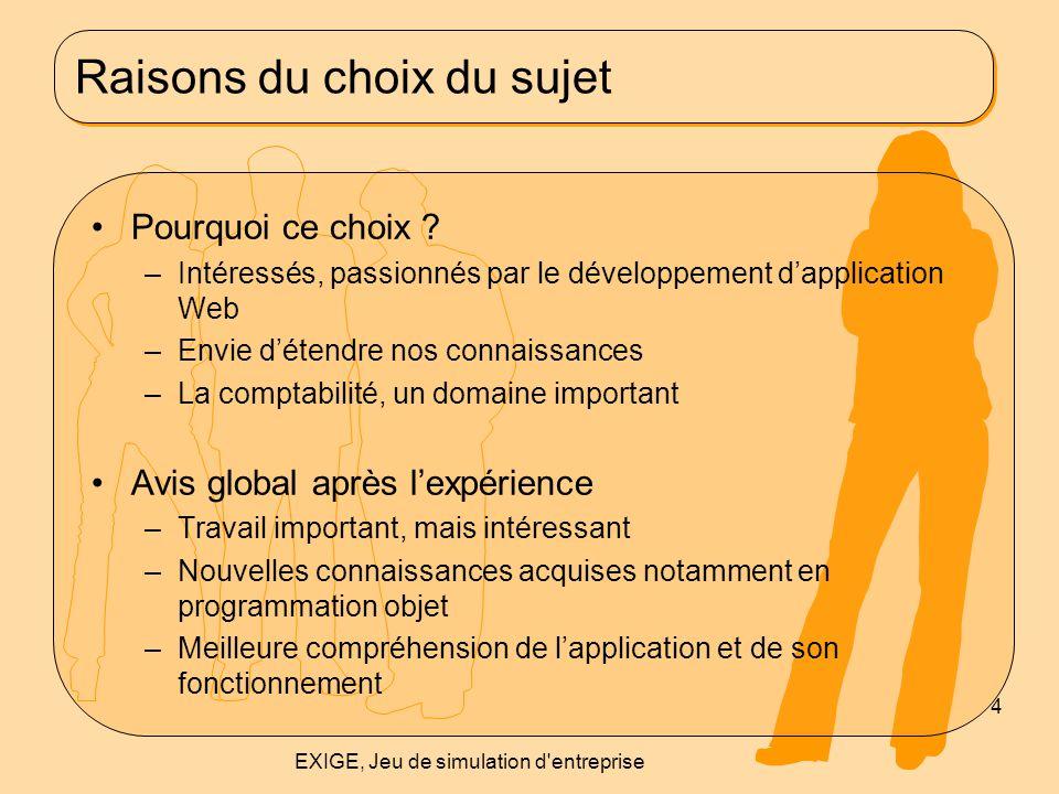 Raisons du choix du sujet Pourquoi ce choix ? –Intéressés, passionnés par le développement d'application Web –Envie d'étendre nos connaissances –La co