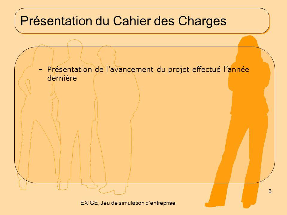 Présentation du Cahier des Charges –Présentation de l'avancement du projet effectué l'année dernière 5 EXIGE, Jeu de simulation d'entreprise