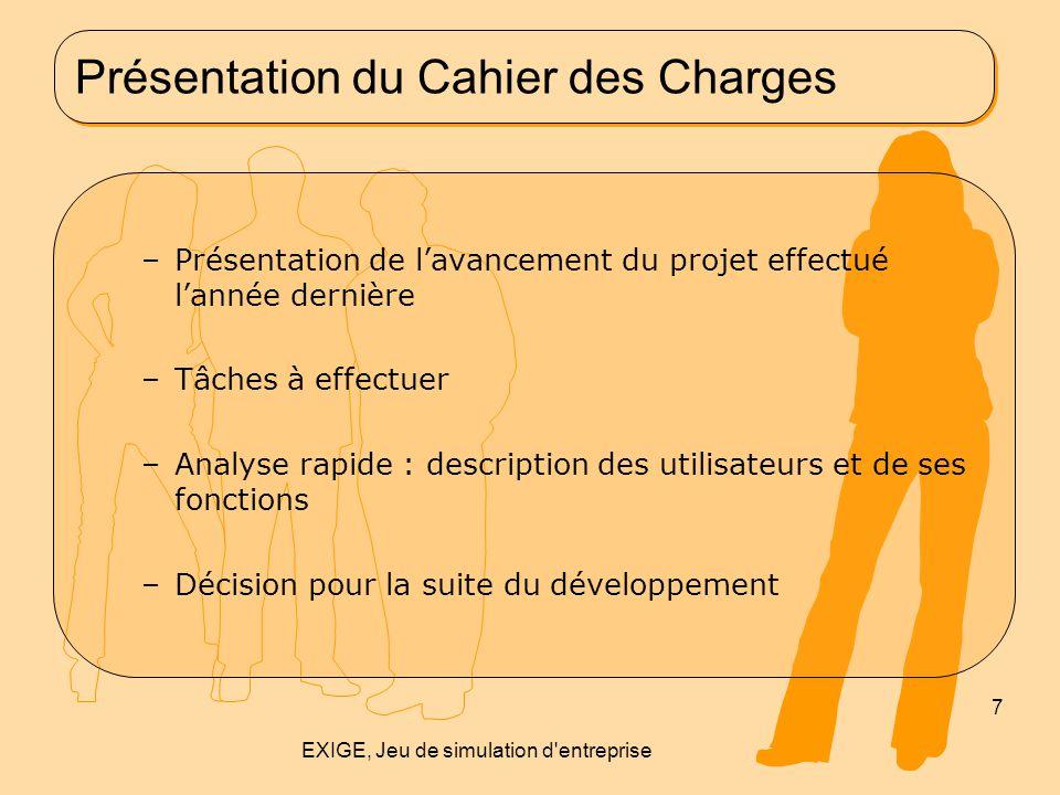 Présentation du Cahier des Charges –Présentation de l'avancement du projet effectué l'année dernière –Tâches à effectuer –Analyse rapide : description