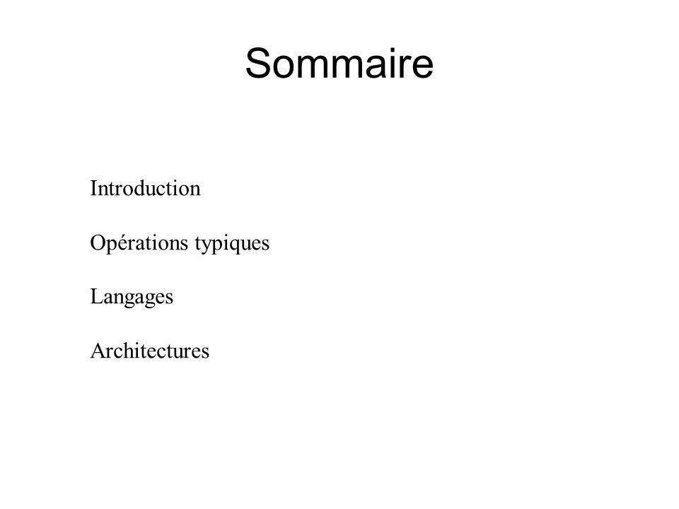 Sommaire Introduction Opérations typiques Langages Architectures