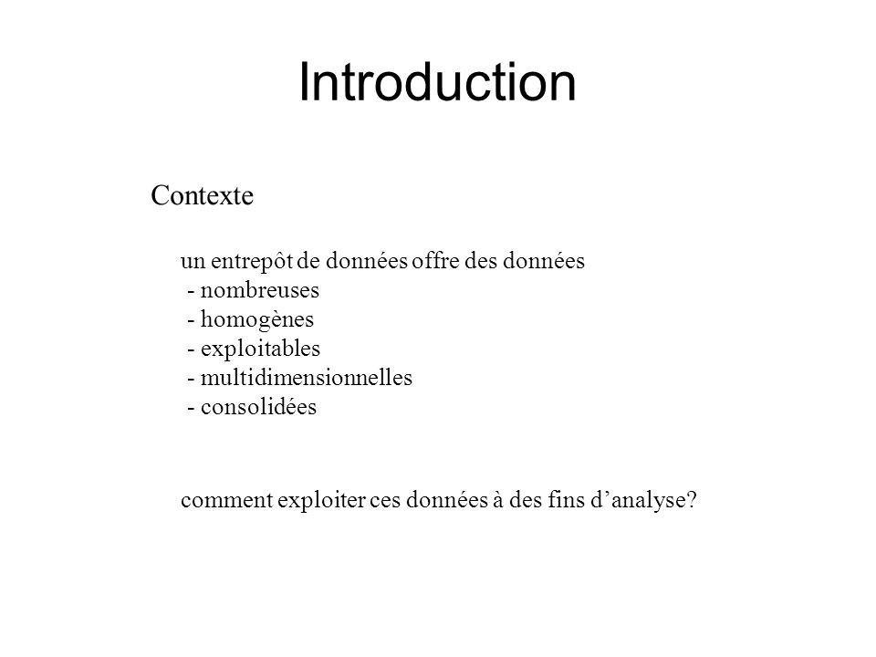 Introduction Contexte un entrepôt de données offre des données - nombreuses - homogènes - exploitables - multidimensionnelles - consolidées comment exploiter ces données à des fins d'analyse