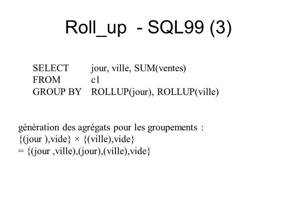 Roll_up - SQL99 (3) SELECT jour, ville, SUM(ventes) FROM c1 GROUP BY ROLLUP(jour), ROLLUP(ville) génération des agrégats pour les groupements : {(jour ),vide} × {(ville),vide} = {(jour,ville),(jour),(ville),vide}