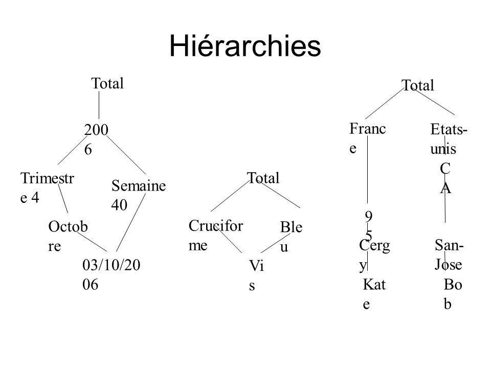Hiérarchies 200 6 Semaine 40 Trimestr e 4 Octob re 03/10/20 06 Vi s Crucifor me Ble u Etats- unis CACA San- Jose Bo b Franc e 9595 Cerg y Kat e Total