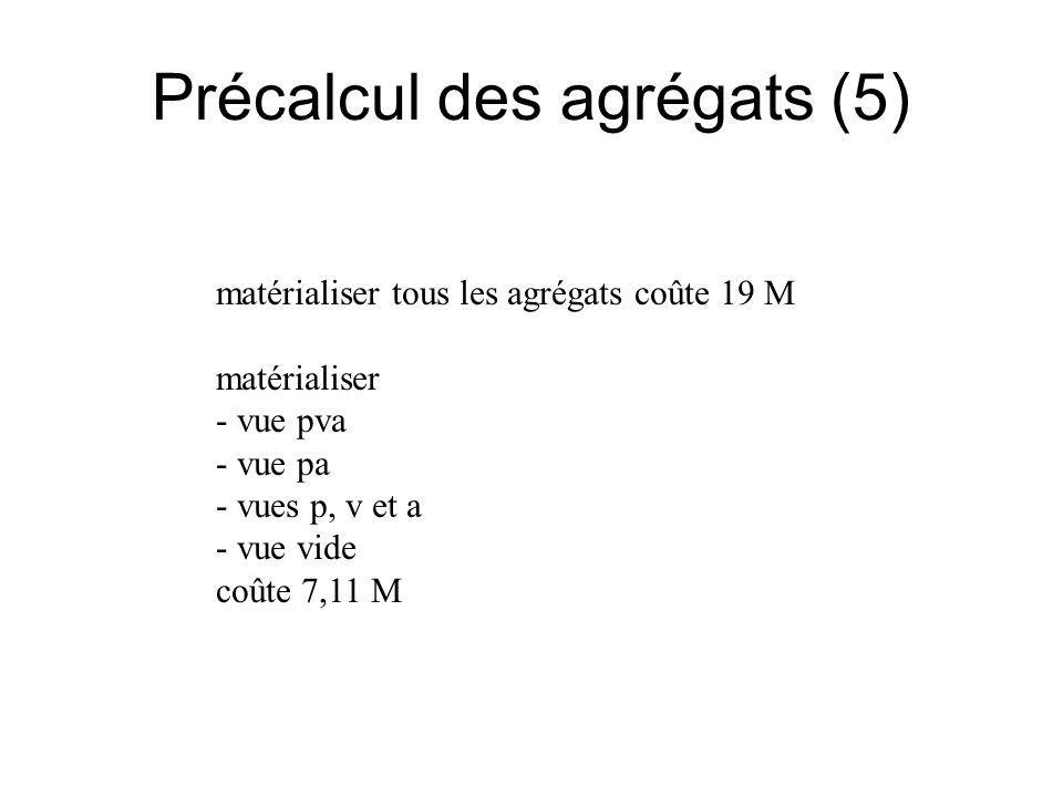 Précalcul des agrégats (5) matérialiser tous les agrégats coûte 19 M matérialiser - vue pva - vue pa - vues p, v et a - vue vide coûte 7,11 M