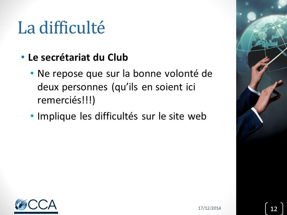 La difficulté Le secrétariat du Club Ne repose que sur la bonne volonté de deux personnes (qu'ils en soient ici remerciés!!!) Implique les difficultés
