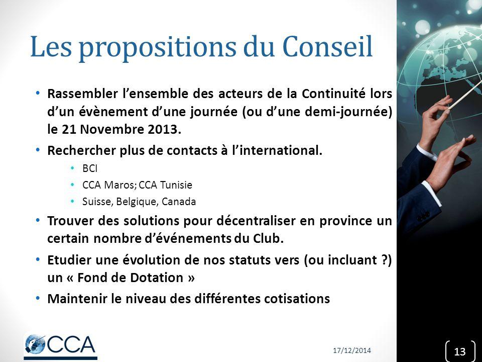 Les propositions du Conseil Rassembler l'ensemble des acteurs de la Continuité lors d'un évènement d'une journée (ou d'une demi-journée) le 21 Novembr