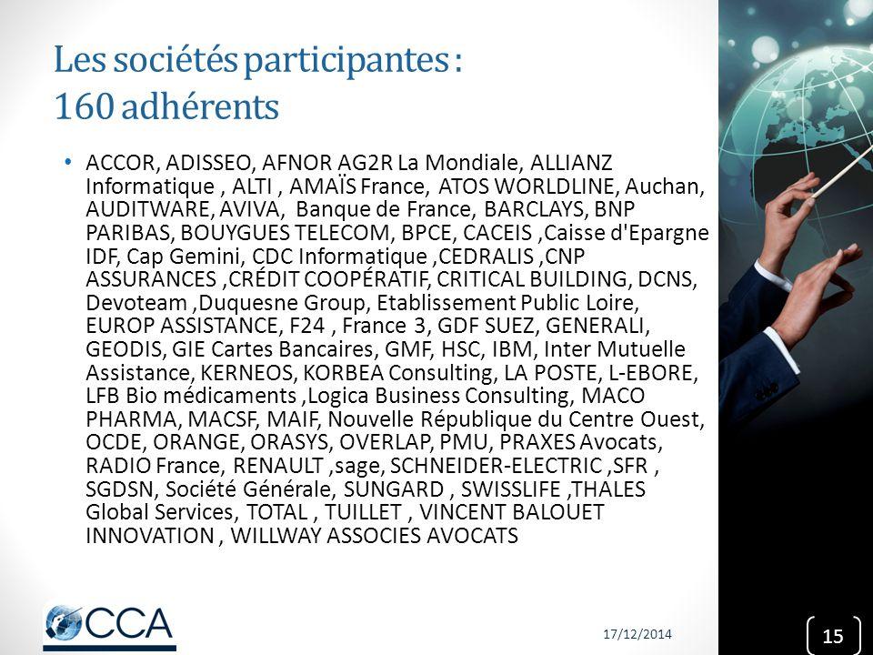 Les sociétés participantes : 160 adhérents ACCOR, ADISSEO, AFNOR AG2R La Mondiale, ALLIANZ Informatique, ALTI, AMAÏS France, ATOS WORLDLINE, Auchan, A