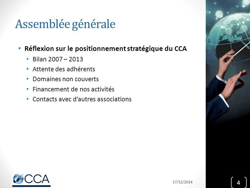 Assemblée générale Réflexion sur le positionnement stratégique du CCA Bilan 2007 – 2013 Attente des adhérents Domaines non couverts Financement de nos