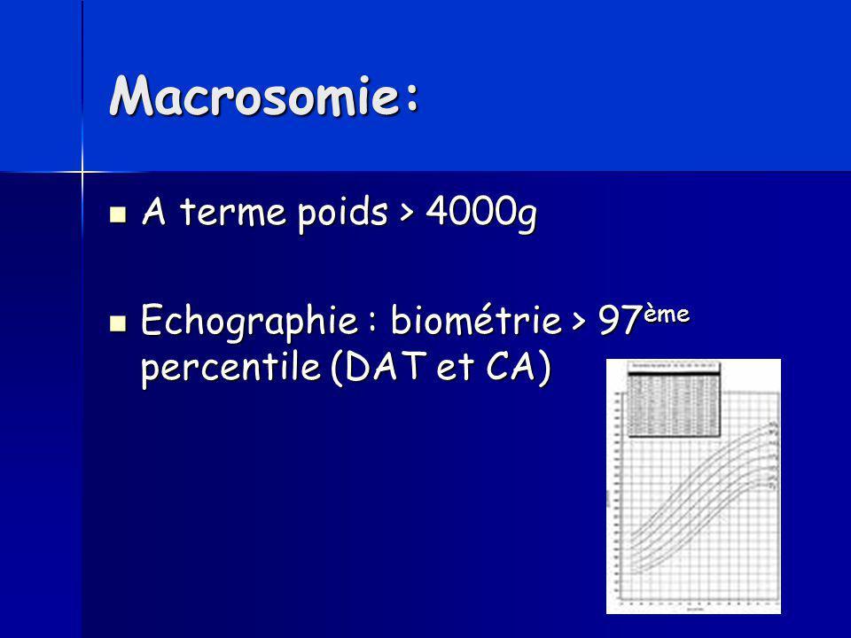 Macrosomie: A terme poids > 4000g A terme poids > 4000g Echographie : biométrie > 97 ème percentile (DAT et CA) Echographie : biométrie > 97 ème perce