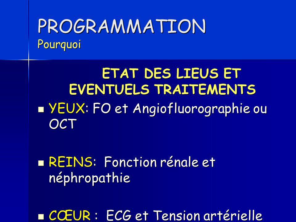 PROGRAMMATION Pourquoi ETAT DES LIEUS ET EVENTUELS TRAITEMENTS YEUX: FO et Angiofluorographie ou OCT YEUX: FO et Angiofluorographie ou OCT REINS: Fonc