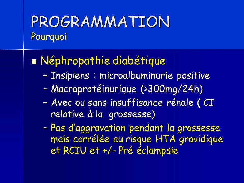 PROGRAMMATION Pourquoi Néphropathie diabétique Néphropathie diabétique –Insipiens : microalbuminurie positive –Macroprotéinurique (>300mg/24h) –Avec o