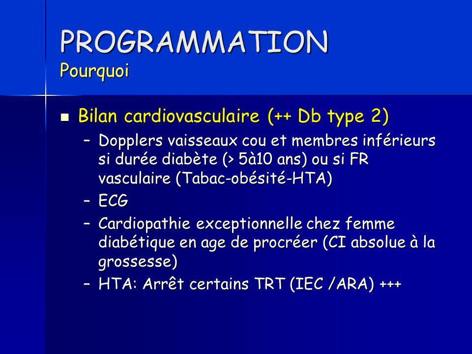 PROGRAMMATION Pourquoi Bilan cardiovasculaire (++ Db type 2) Bilan cardiovasculaire (++ Db type 2) –Dopplers vaisseaux cou et membres inférieurs si du