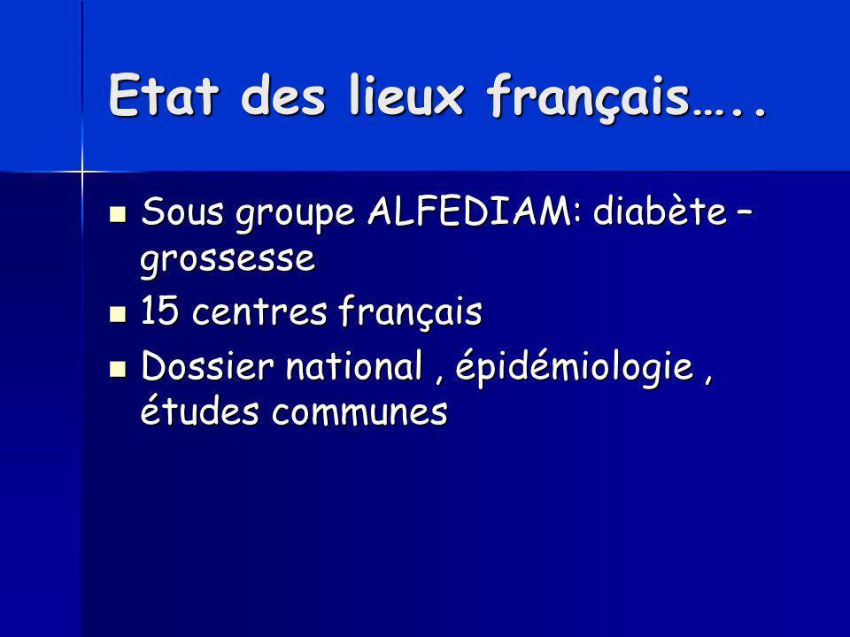 Etat des lieux français….. Sous groupe ALFEDIAM: diabète – grossesse Sous groupe ALFEDIAM: diabète – grossesse 15 centres français 15 centres français