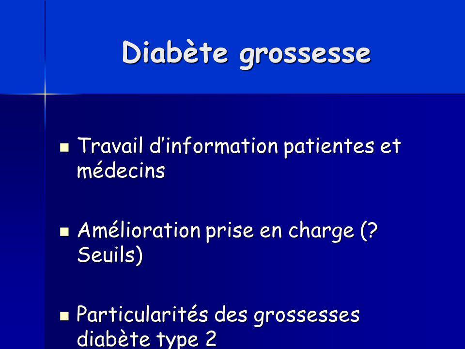 Diabète grossesse Travail d'information patientes et médecins Travail d'information patientes et médecins Amélioration prise en charge (? Seuils) Amél